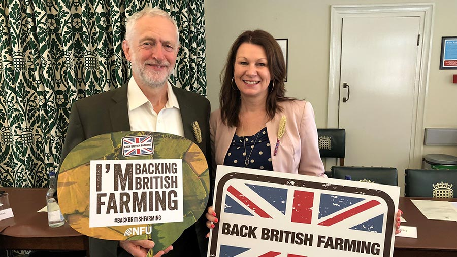 Jeremy Corbyn and Sue Hayman support the Back British Farming campaign © NFU
