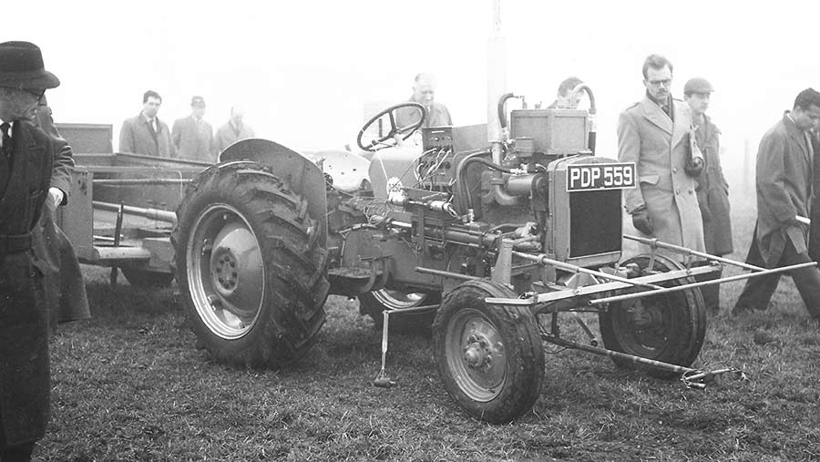 The Reading University driverless tractor pictured during a demonstration in 1958