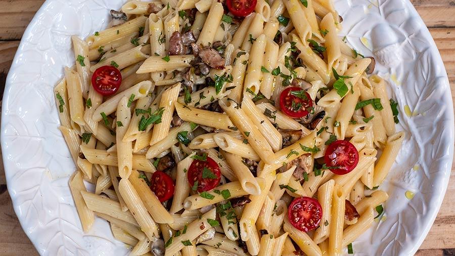 Bacon and mushroom pasta by Philippa Vine