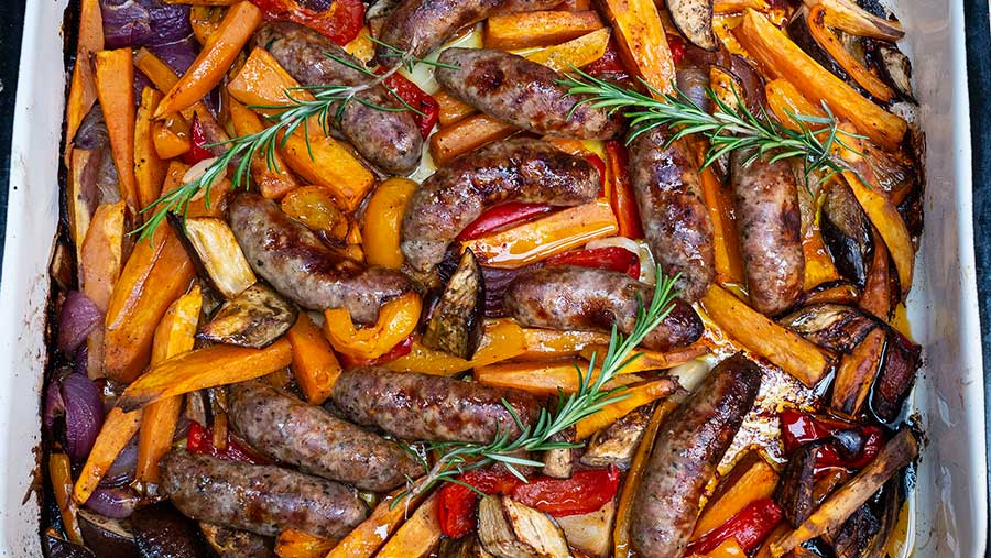 Sausage traybake by Philippa Vine
