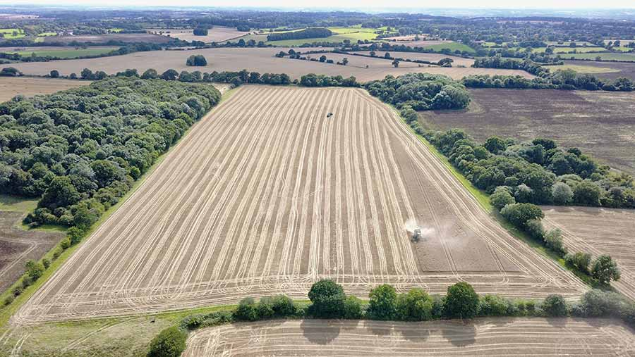 View of farmland from drone
