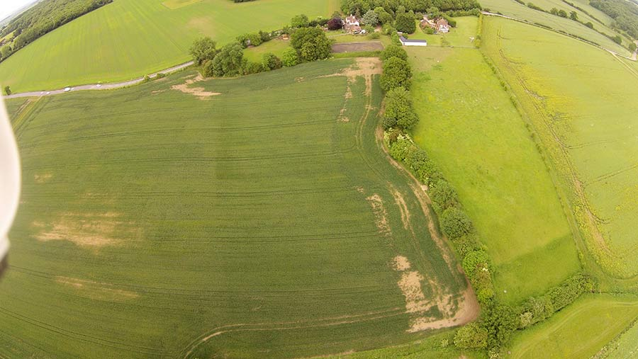 Aerial view of compacted field