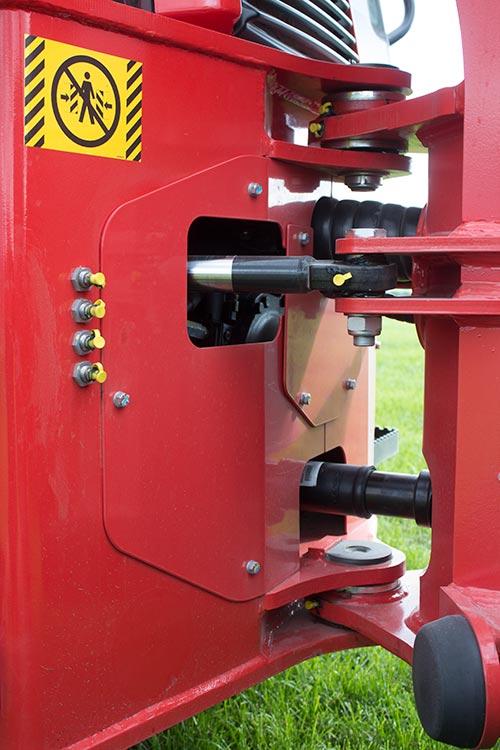 Close-up of pivot on Manitou loader