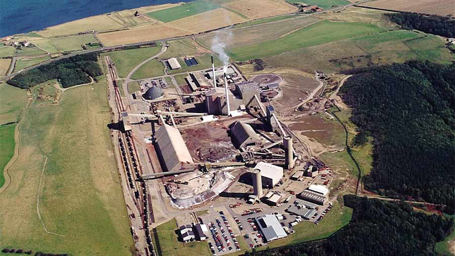 Aerial view of Boulby mine buildings