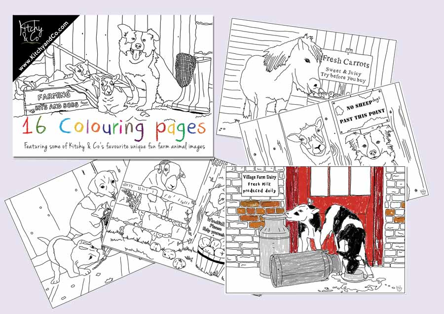 Colouring pages featuring dogs, ponies, calves and lambs