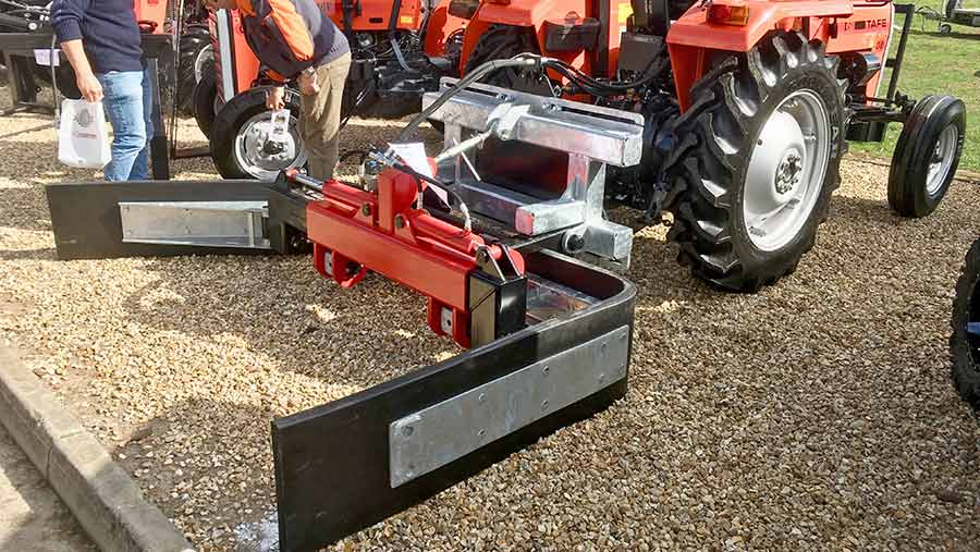 A yard scraper on display at an agriculture show