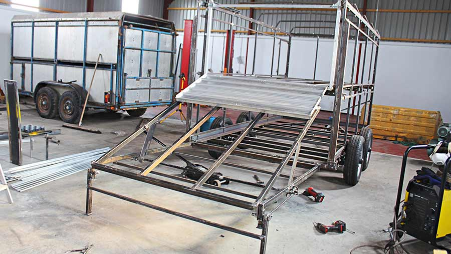 Trailer being assembled in the farm workshop