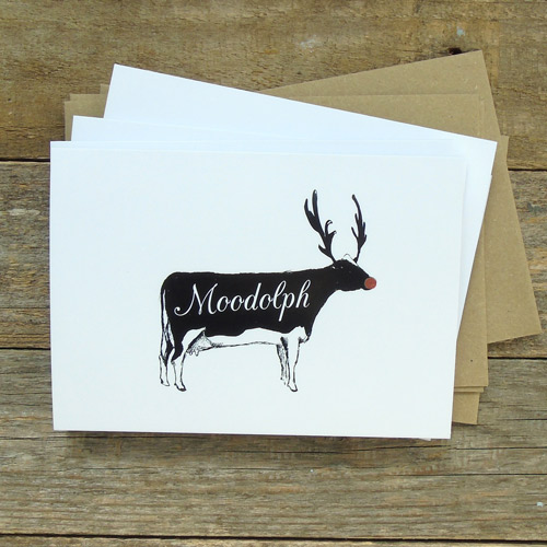 Greeting cards featuring Moodolph the festive cow