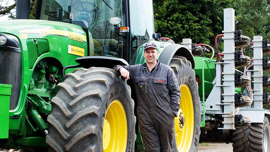 Farmer Tom Sewell with his tractor