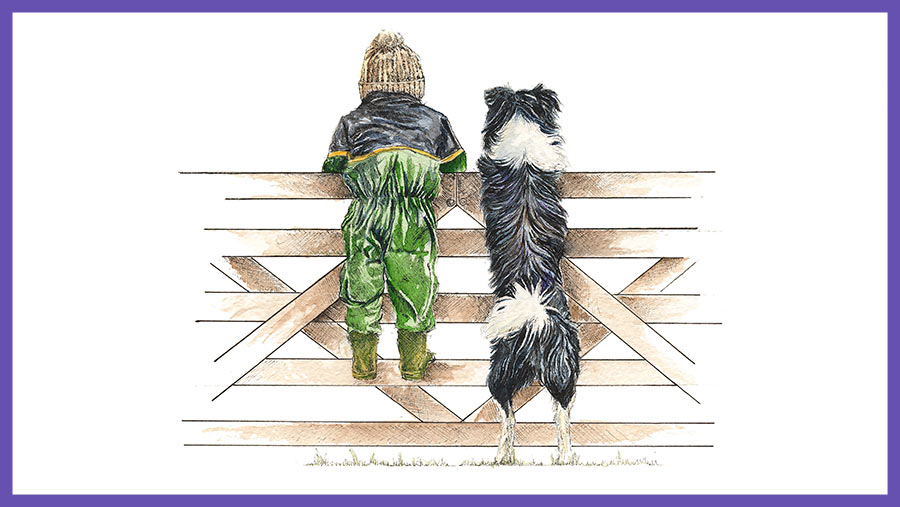 Kate Simpson's artwork Morning Check shows a child in overalls and a collie dog both looking over a gate