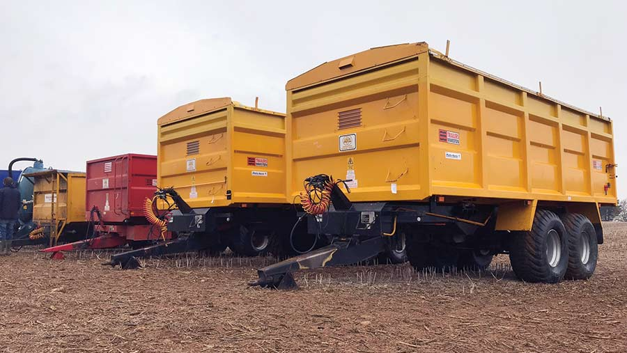 a pair of identical Marston trailers