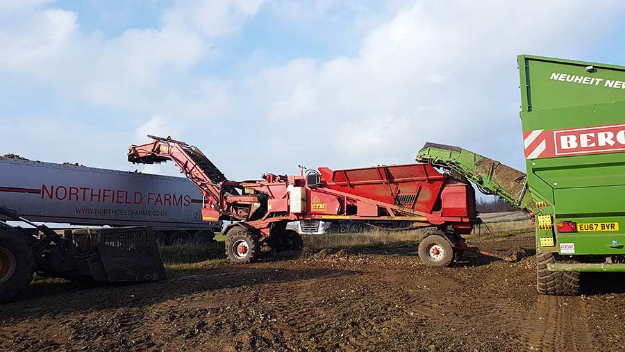 A sugar beet chaser cleaner loader lorry