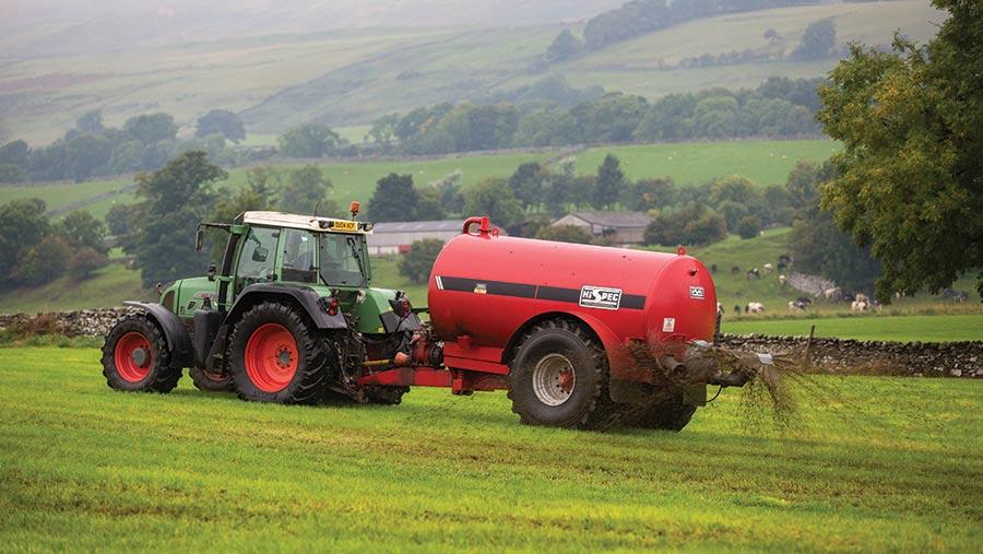 spraying fertiliser