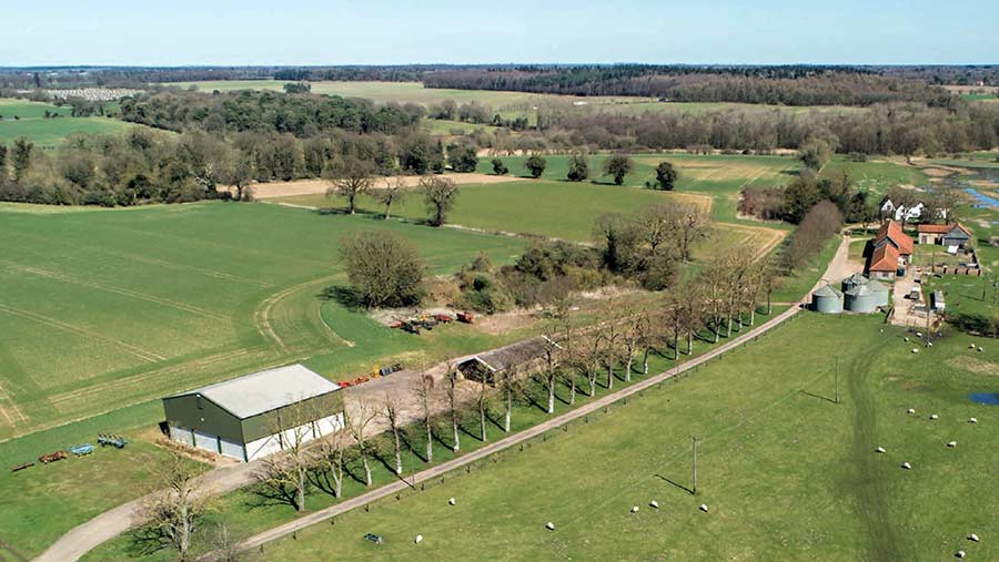 Aerial view of Lodge Farm Estate entrance drive