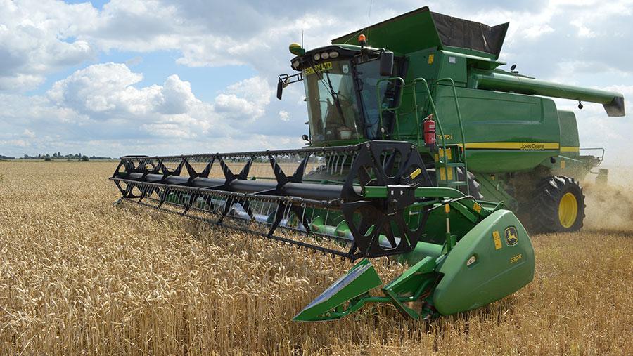 A combine harvest winter wheat