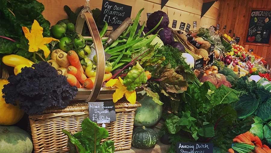 Minskip Farm Shop vegetable stall