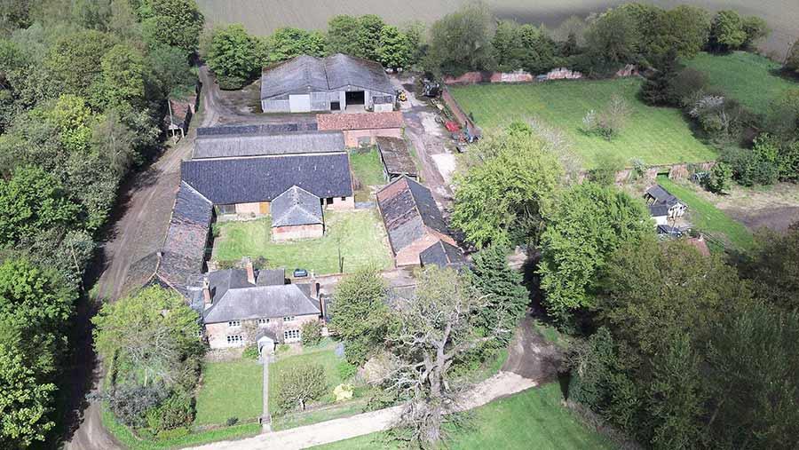 An aerial shot of Hall Farm