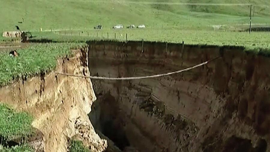 Huge sinkhole on a New Zealand farm