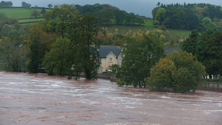 Flooding caused by storm Callum