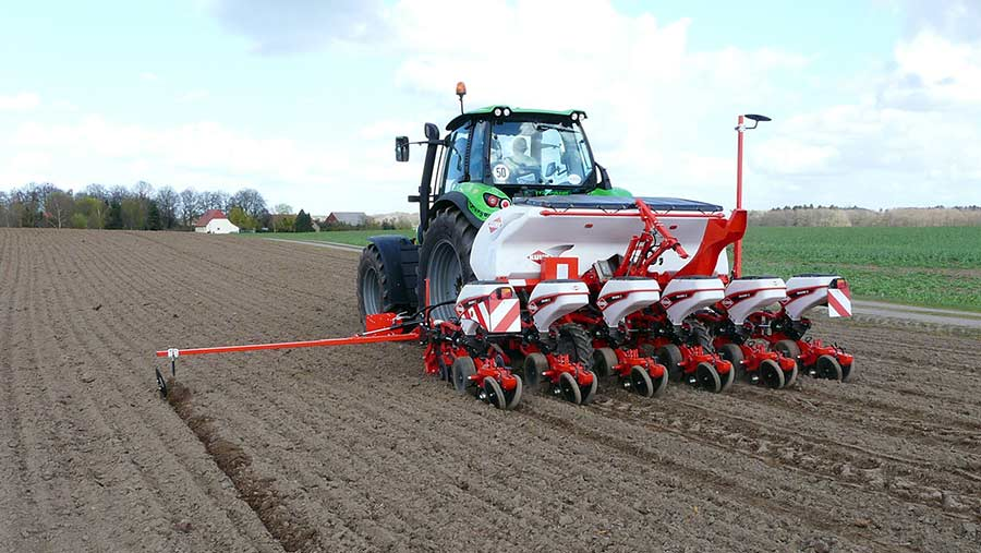 A Kuhn drill working in a field