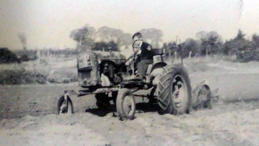 Roy Millbank ploughing as a child