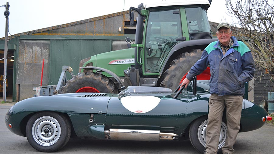 Roy Millbank with Jaguar D-type and Fendt tractor © Tim Relf