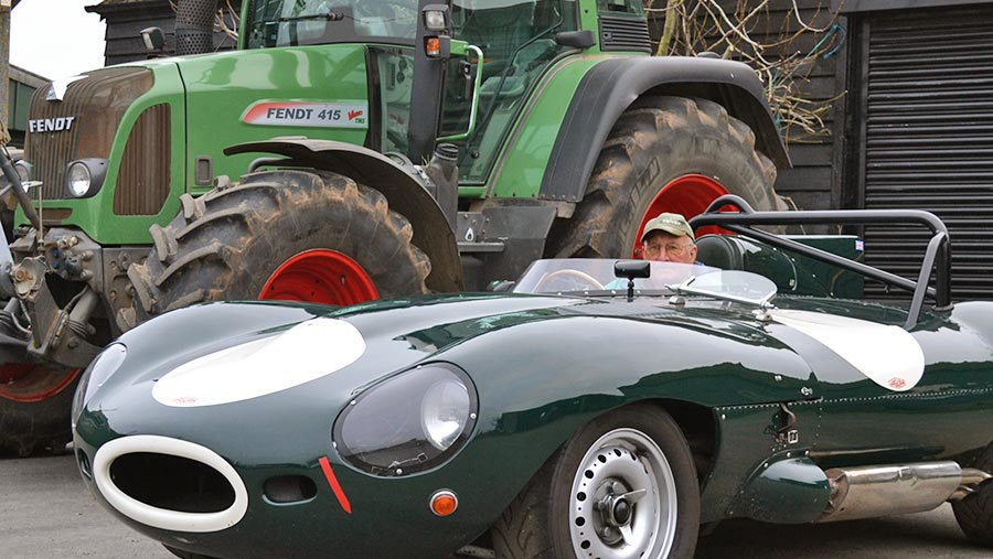 Roy with his Jaguar D-type racer alongside his Fendt tractor © Tim Relf