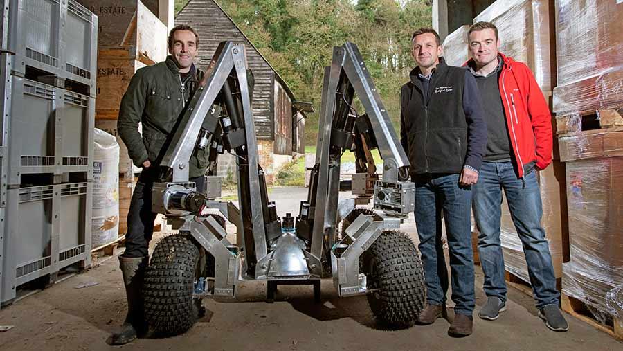 Harry prototype robot together with Sam Watson Jones, Andrew Hoad and Joe Allnutt © Geoff Pugh