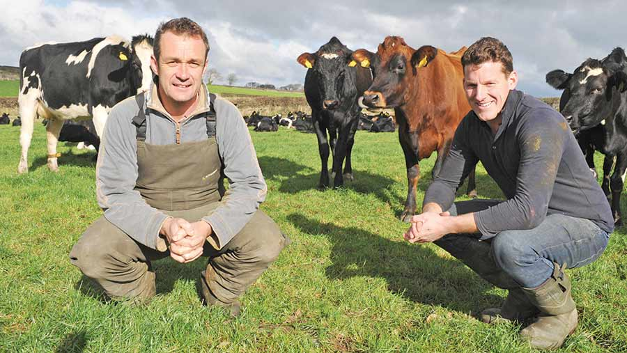 Reseeding has allowed Richard Rogers (left) and Gethin Roberts to grow 14.3t/ha DM