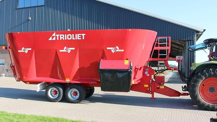 A red feeder wagon