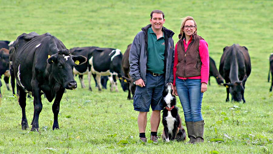 Farmers Tristran and Jaci Dale with dairy cows