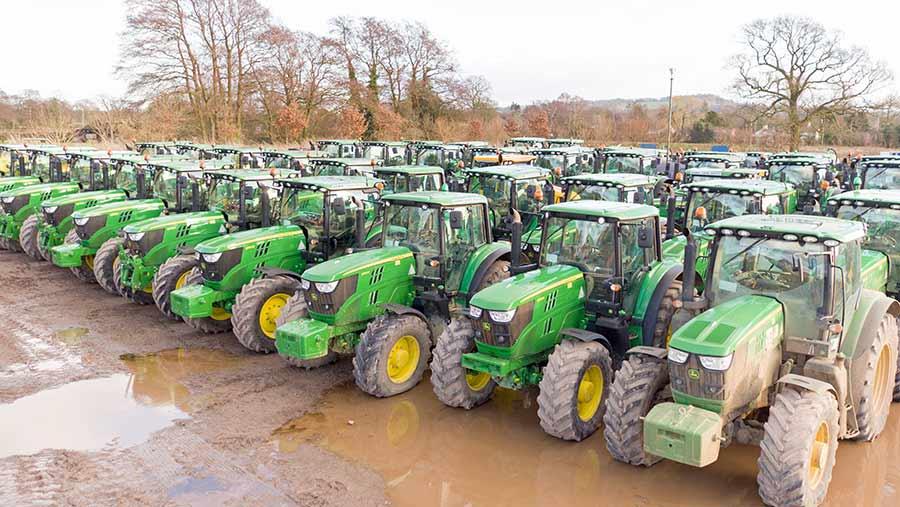 Rows of tractors