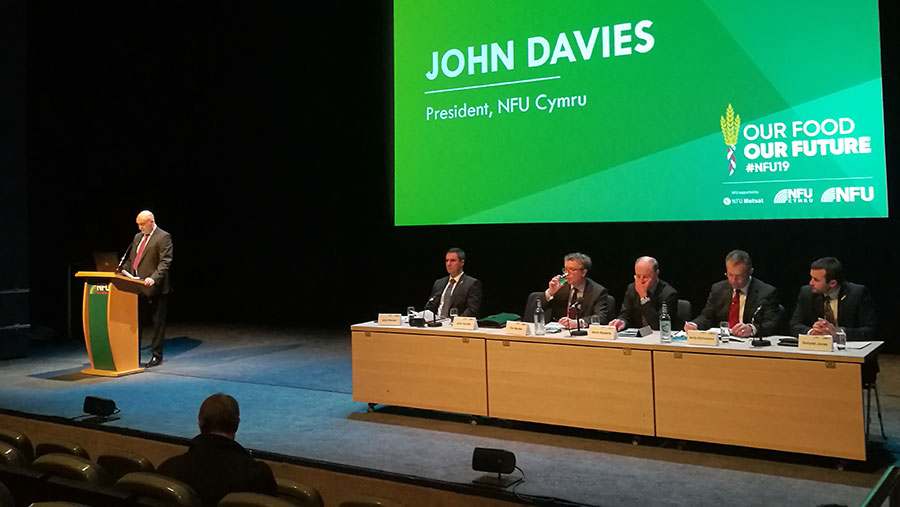 John Davies speaking to delegates at NFU conference 2019