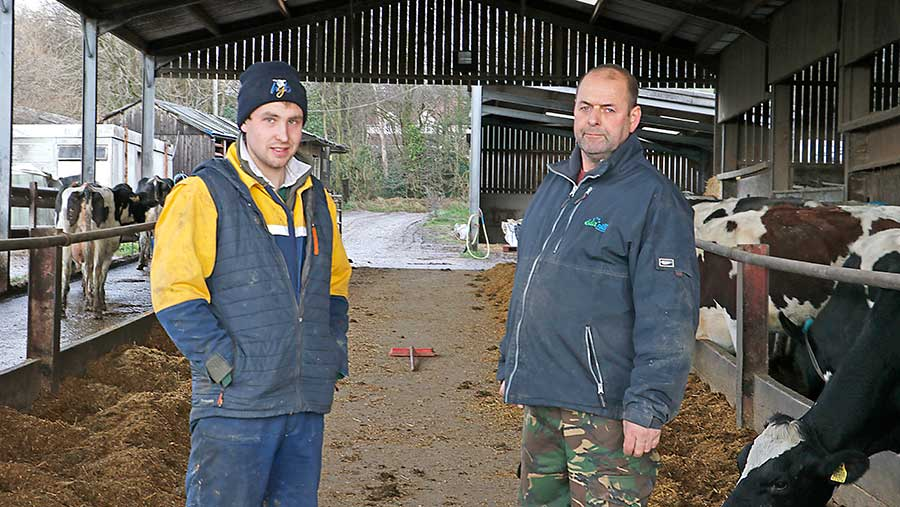 Michael Oakes (right) and farmworker Callum Cassey