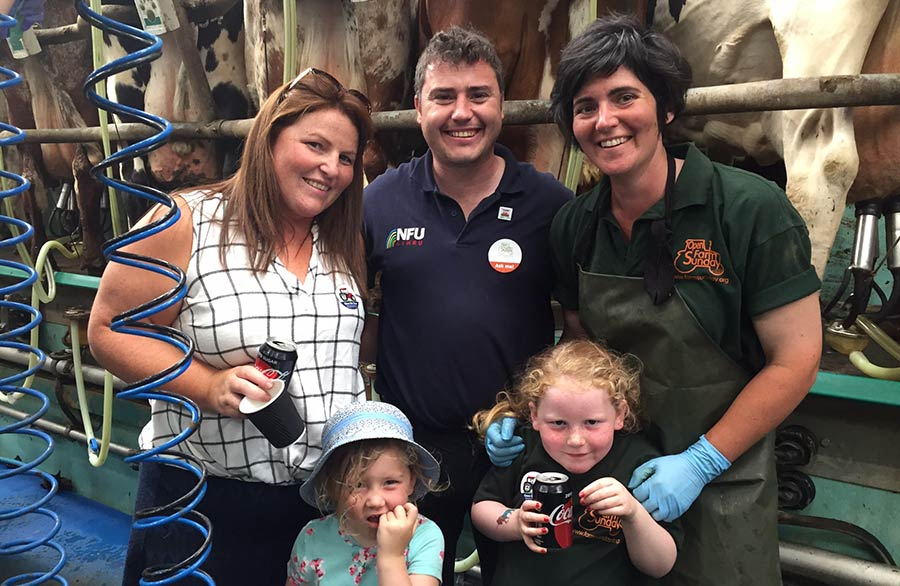 Abi Reader with farm visitors