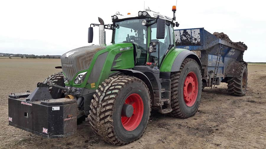 A tractor with michelin tyres