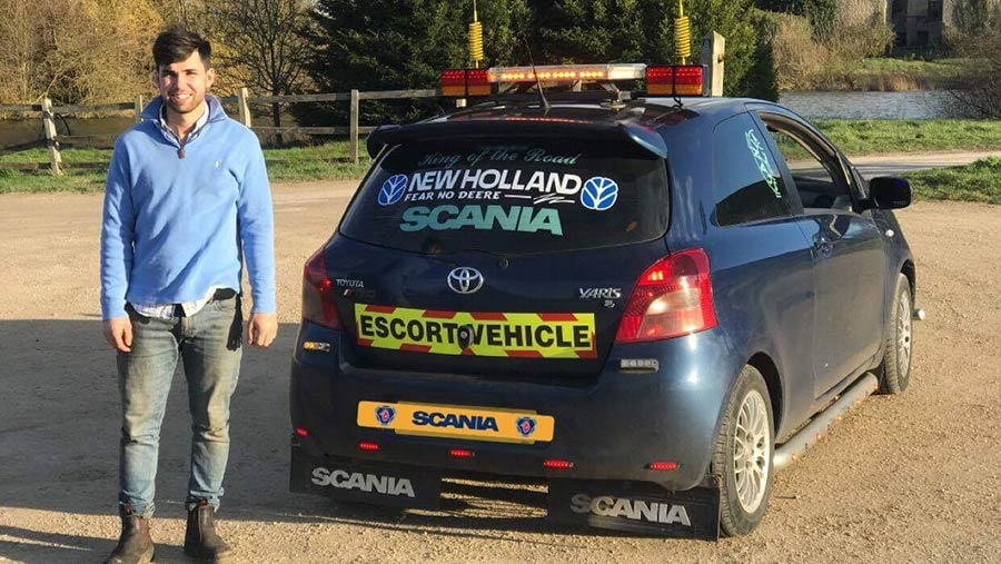 Cameron Chettle with his Toyota Yaris customised as a Scania lorry