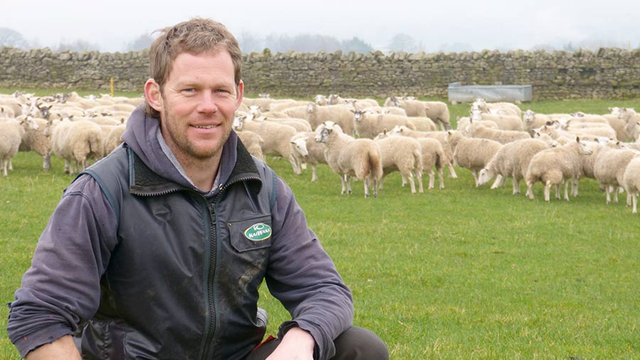 Farmer Paul Renison with flock of sheep