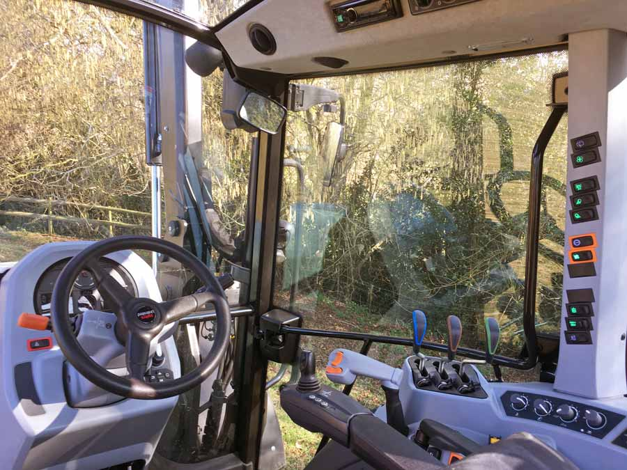 Inside the cab of the Valtra