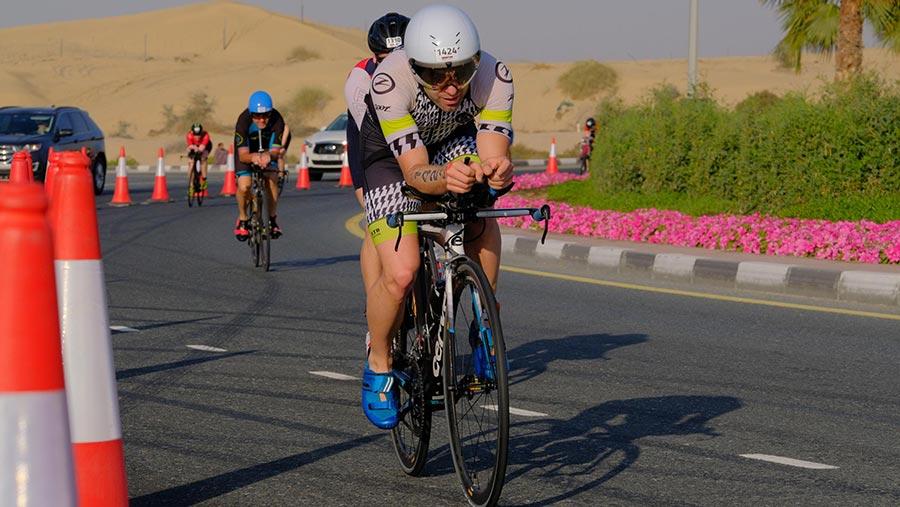 Adam Madge doing Ironman in Dubai