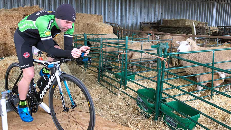 Adam Madge cycling in lambing shed © Oli Hill/RBI