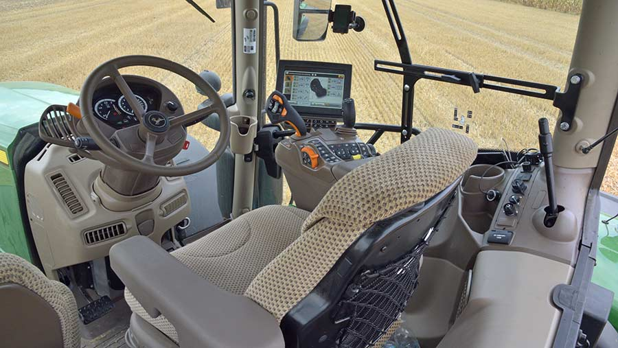 The JD-6250R's cab