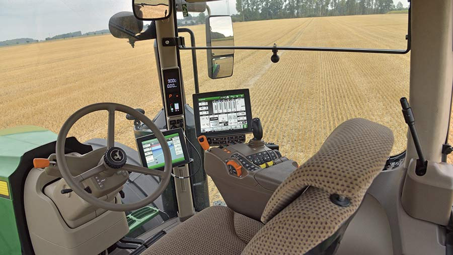 The JD 7250's cab