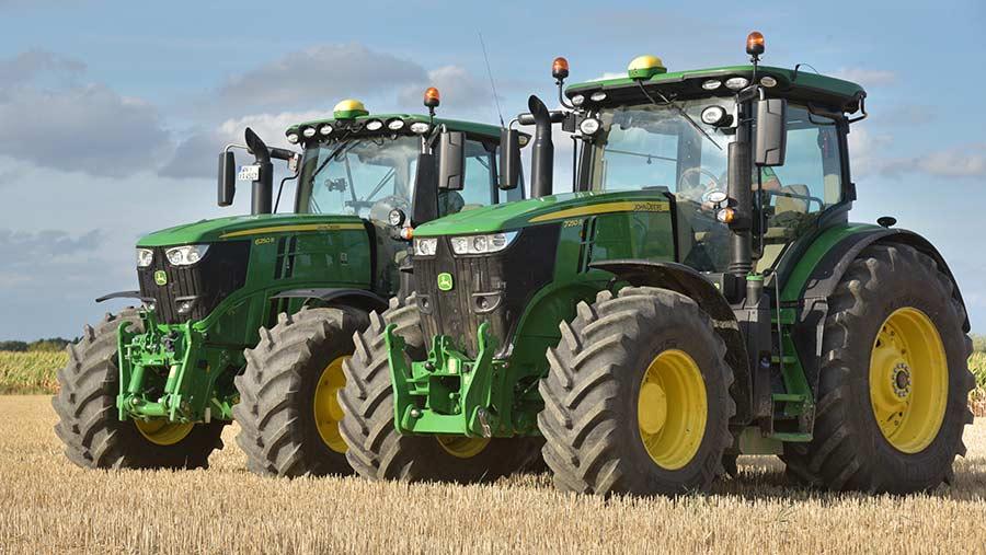 Two John Deere tractors