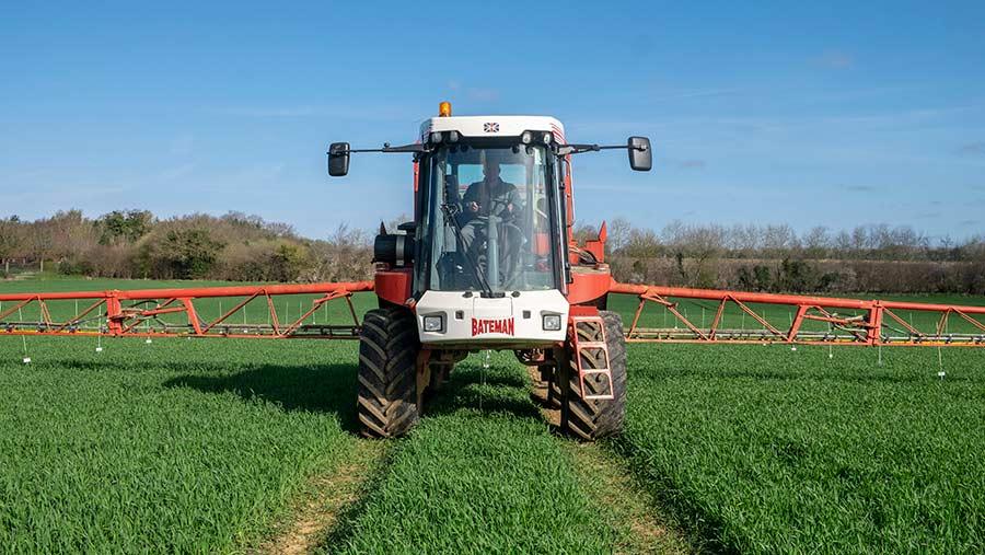 Sprayer in rye crop