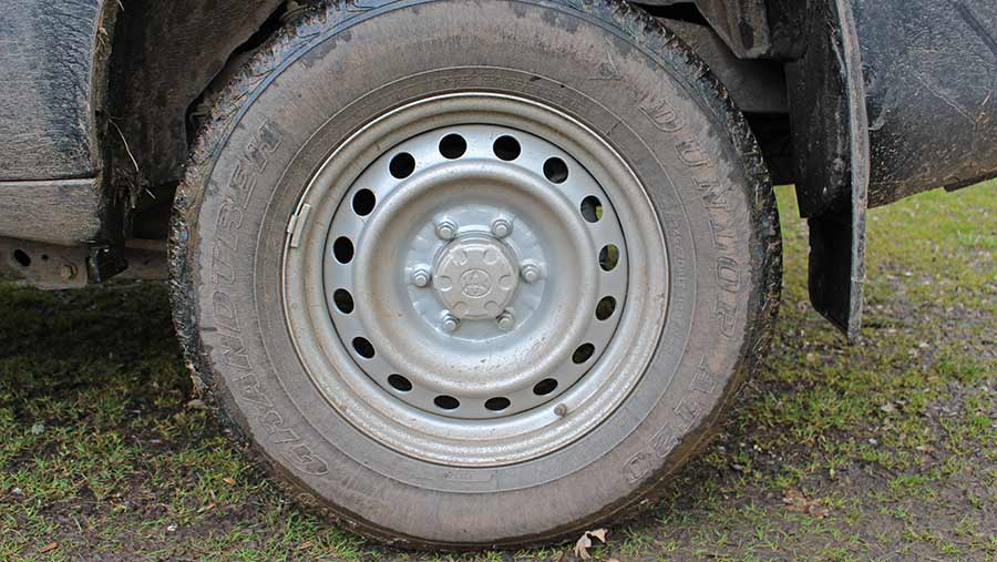 Close-up of Toyota Land Cruiser tyre
