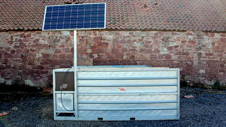 The Ritchie Beef Monitor weigh crate with solar panel