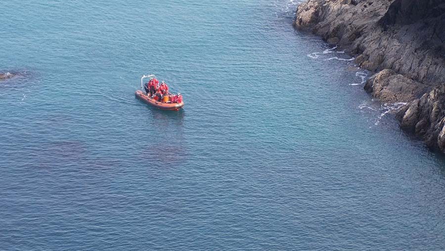 Rescue boat on water