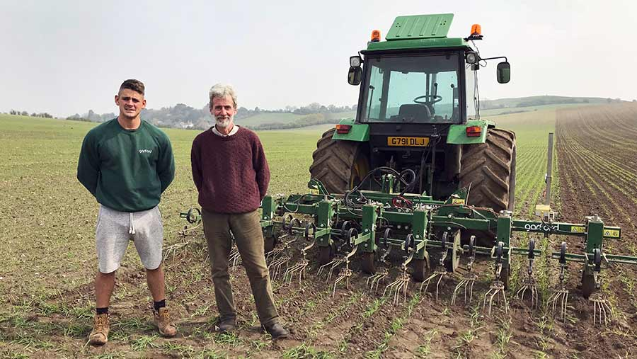 Peter Ewan (left) and Robert Hyde with the Garford weeder © Lucinda Dann/Proagrica