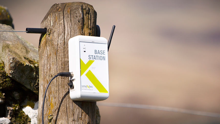 Data is downloaded when cows walk within 30m of the base station